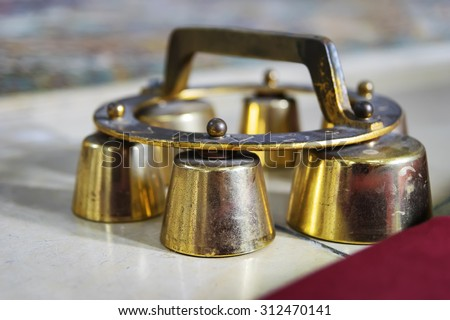 Image of altar bells in a catholic church in Bavaria, Germany - stock photo