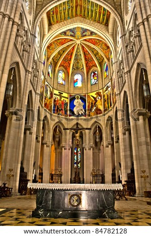 Image of Altar in Madrid's Cathedral of Almudena, Spain - stock photo