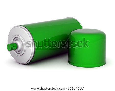 Image of aluminum spray cans of paint on a white background
