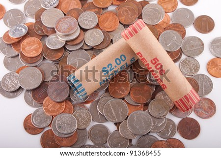 Image of American coins. - stock photo