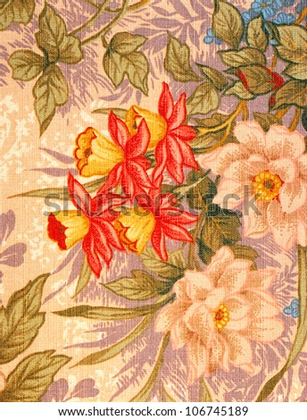 Image of an antique floral fabric. Professional shooting. - stock photo