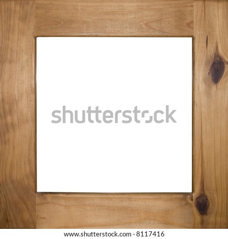 Image of an antique pine picture frame isolated on white - stock photo