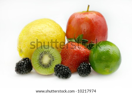 Image of an assorted fruit arrangement on white - stock photo