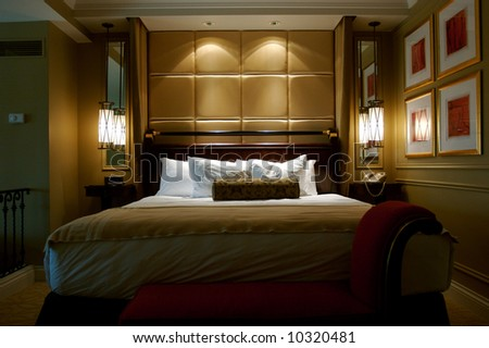 Image of an empty luxurious hotel suite