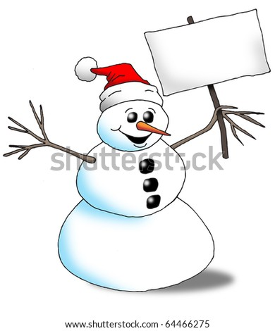 Image of an excited snowman holding a blank sign.