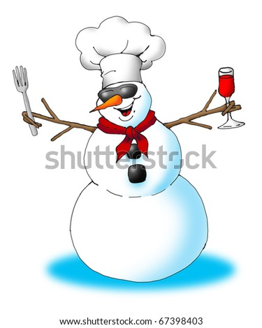 Image of an excited snowman wearing a chef's hat, holding a fork and a glass of wine.