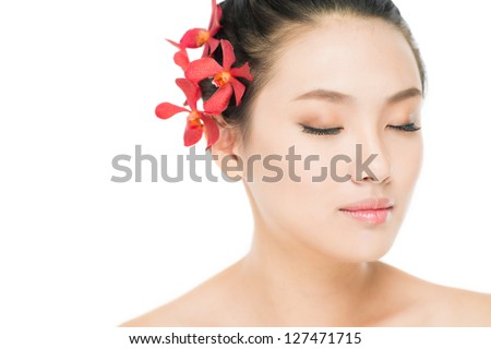 Image of an eye-closed Asian beauty with smooth skin and natural make-up - stock photo