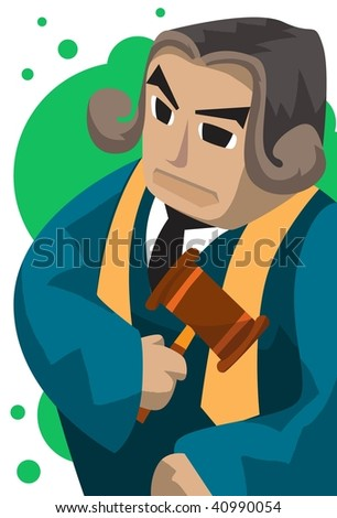 Image of an impartial judge who is holding a mallet. - stock photo