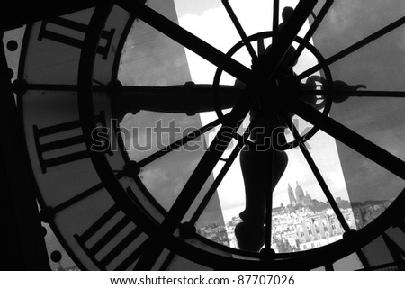 Image of an impressive time clock in Paris Orsay Museum - stock photo