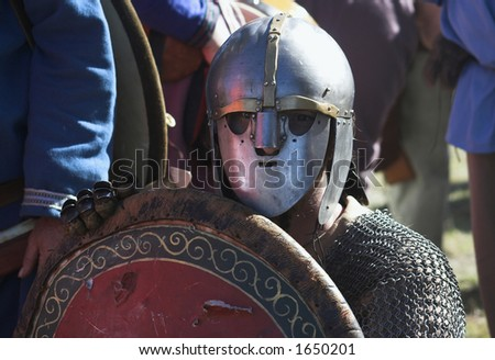 Image of an medieval soldier - stock photo