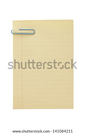 Image of an old blank paper with a blue paper clip isolated on a white background