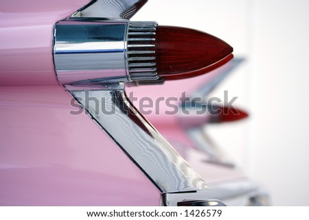 Image of an old cars tail fins - stock photo