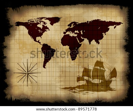 Image of an old paper world map - stock photo