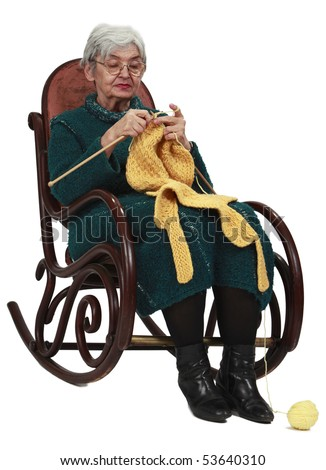 Image of an old woman sitting on a rocker and knitting, isolated against a white background.