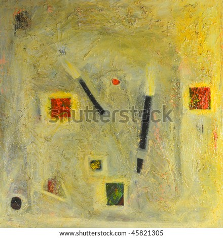 Image of an original mixed media Oil painting on canvas - stock photo