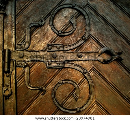 image of ancient medieval doors (detail) - stock photo