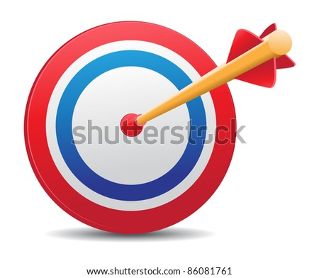 image of arrow aiming at target board - stock photo