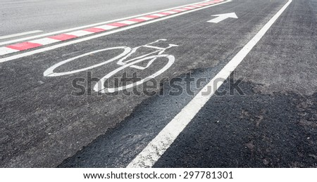 image of asphalt road and new bike lane with sign for background usage.