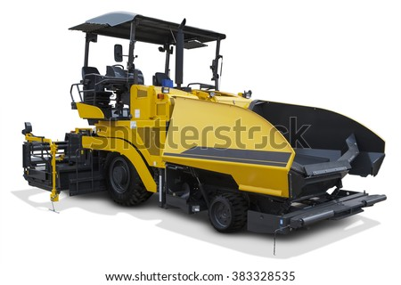 Image of asphalt spreader machine with yellow color, isolated on white background - stock photo