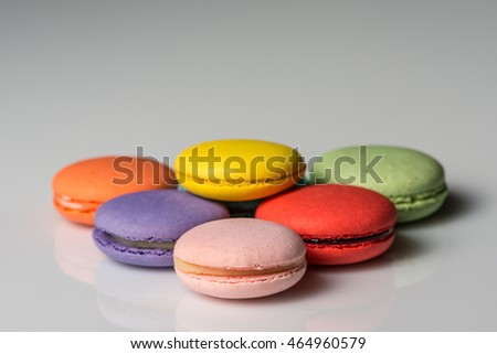 Image of assorted colors of macaroons on a neutral background