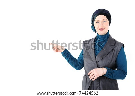 Image of attractive teacher on white - stock photo
