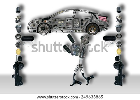 Image of auto mechanic under the car. New auto parts, spare parts laid out in the form of a car. Spare parts for shop, aftermarket OEM. New spare parts for shop. Many auto parts, spare parts for car. - stock photo
