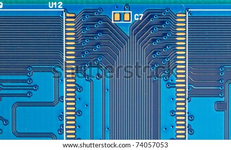 image of back view of a DDR memory module - stock photo