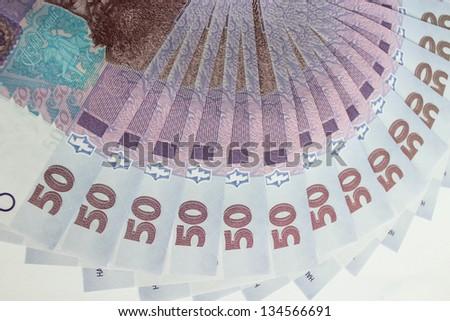 image of background of Ukrainian money value of 50 grivnas - stock photo