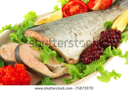 image of baked salmon with salad and pomegranate - stock photo