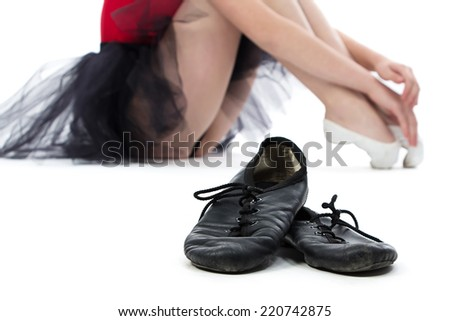 Image of ballet shoes on the floor - white background - stock photo