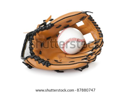 Image of baseball inside glove isolated on white background - stock photo