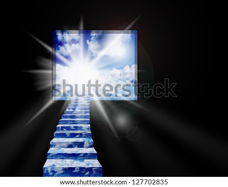 Image of beautiful blue sunny sky with clouds