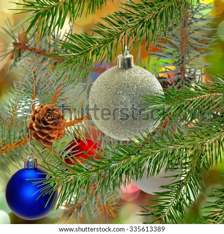 image of beautiful Christmas decorations and Christmas tree closeup