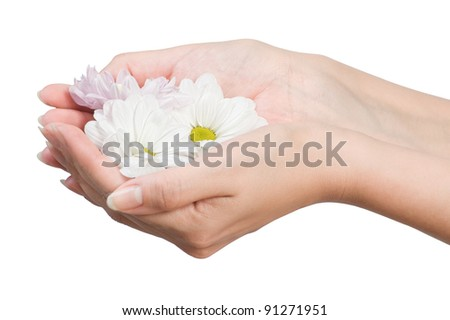image of beautiful female hands with flower isolated on white - stock photo