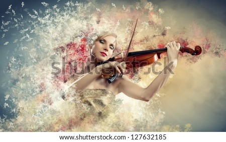 Image of beautiful female violinist playing with closed eyes against colorful background - stock photo