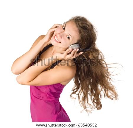image of beautiful girl listening to music - stock photo