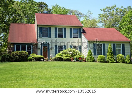 image of beautiful home of middle class  America - stock photo