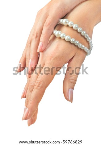 image of beautiful nails and woman fingers - stock photo