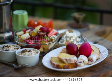 Image of beautifully served breakfast of organic food on a wooden tray