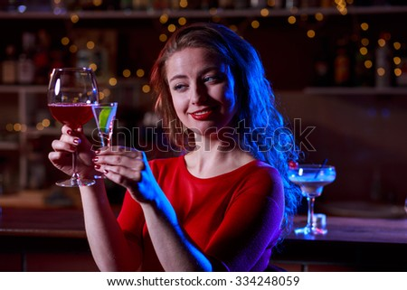 Image of beauty woman holding tasty drinks