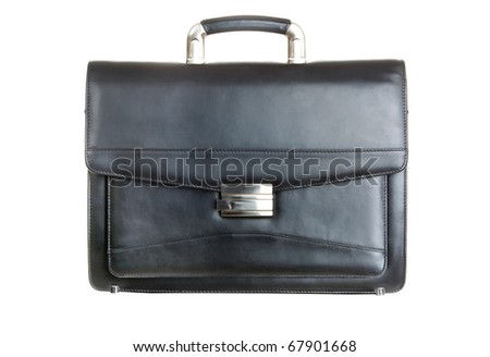 Image of big black leather briefcase isolated on white background