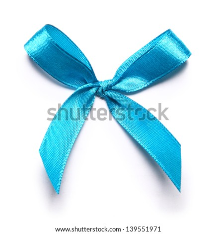 Image of blue bow over white - stock photo