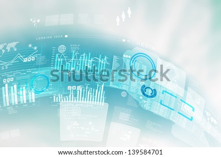 Image of blue hightech background. Business background - stock photo