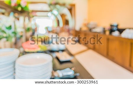 image of blur buffet catering room for background usage .