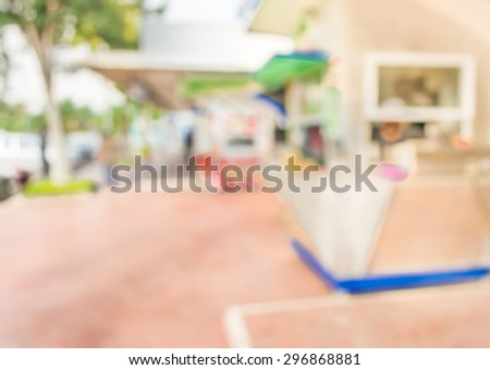 image of blur food stall on day time for background usage. - stock photo