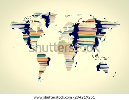 image of blur stacking book in shape of world map - stock photo