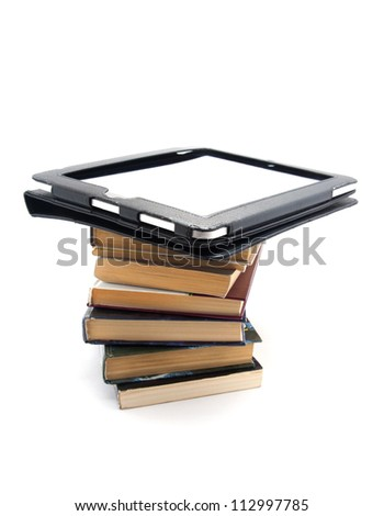 Image of books and tablet pc - stock photo