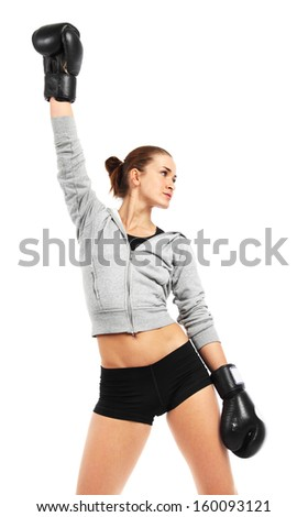 Image of boxer woman isolated on white background