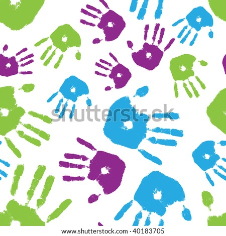 Image of brightly colored handprints arranged in a seamless composition - stock photo