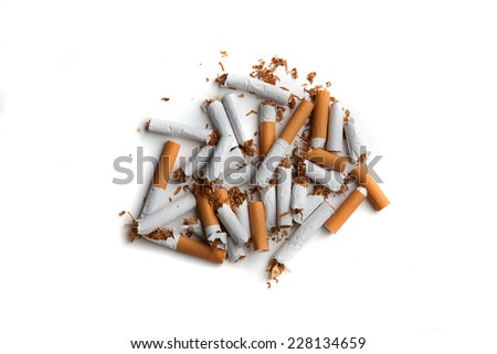 Image of broken cigarettes indicating the desire to stop smoking. Conceptual image. Space for text around the image.